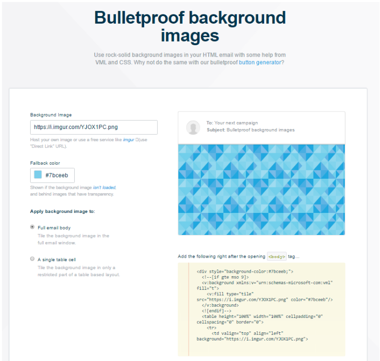 Bulletproof Email Background Tool